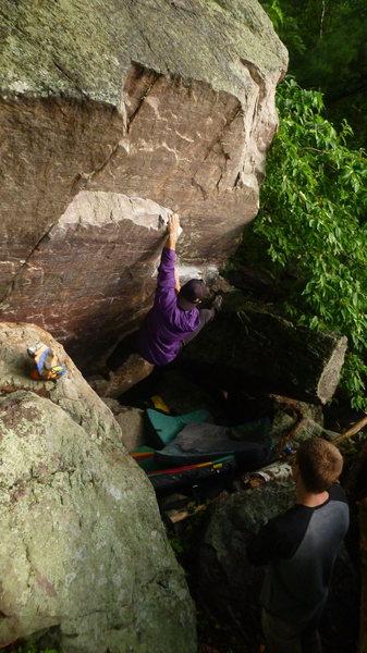 Rock Climbing Photo: Break in the rain session. Photo: Ben Fellenz