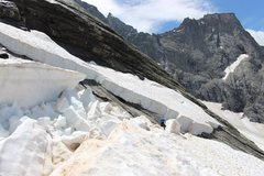 Rock Climbing Photo: Snowfield break on the approach to Cassin and Nord...