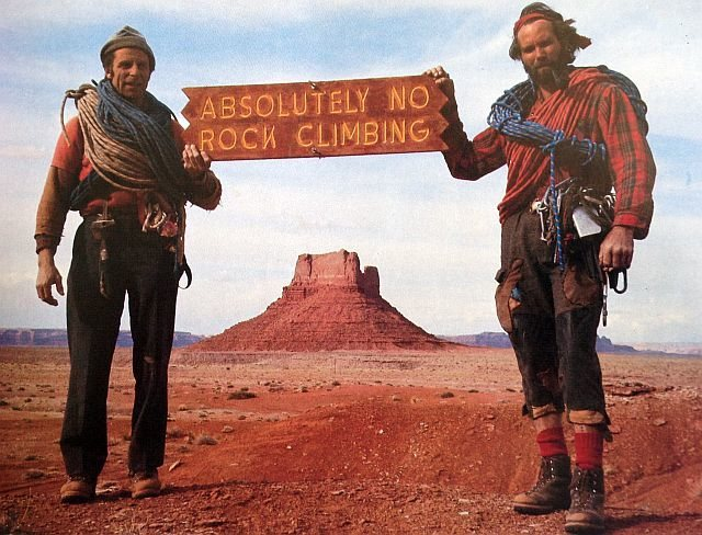Fred Beckey and Eric Bjornstad in Monument Valley, Navajolands<br> <br> Photo: Bjornstad Collection