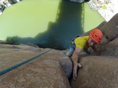 Rock Climbing Photo: Way to keep the rope dry - rap on one end, climb o...