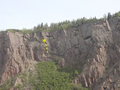 Rock Climbing Photo: Thin Cracks starts off the left end of the ramp.