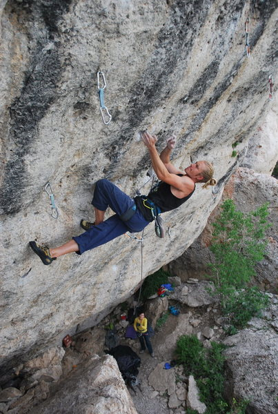 Rock Climbing Photo: Getting ready to slot the mono.  This climb is BUR...