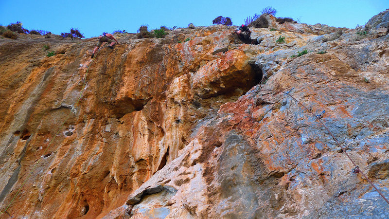 Rock Climbing Photo: The climber on the right is on Klausis [5.10a]. Th...