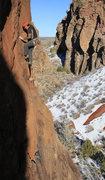 "Rock Climbing Photo: Leo climbs ""DogGone It"" (5.10-) at the D..."