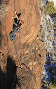 Rock Climbing Photo: Leo moves from the easy slab to clean  steeper roc...