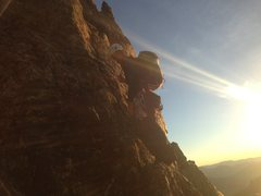 Rock Climbing Photo: Pitch one right after dawn on the Spiral Route on ...