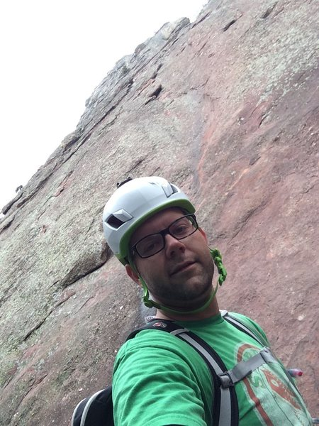 Looking up at pitch 1 of the First Flatiron Direct Route