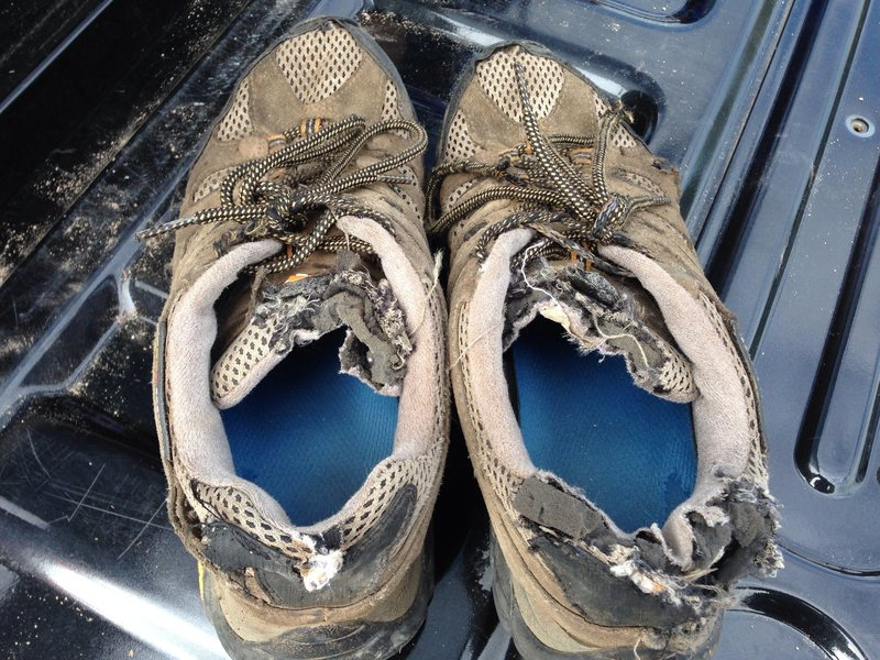 Rock Climbing Photo: My shoes after climbing Petit on 7/15/2014.