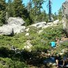 Little Island Lake Boulders a good place to chill! Sunshine boulder is on the right Plan B is on the left and Pinhead is in the background.