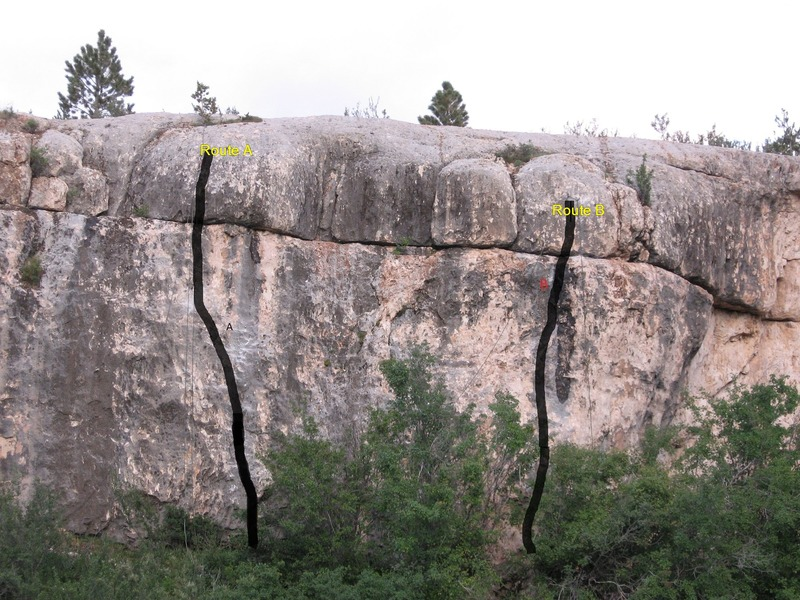 The Route Marked as B is Weltmeister (5.12d), the Route Marked as A is Family Business (5.13-)