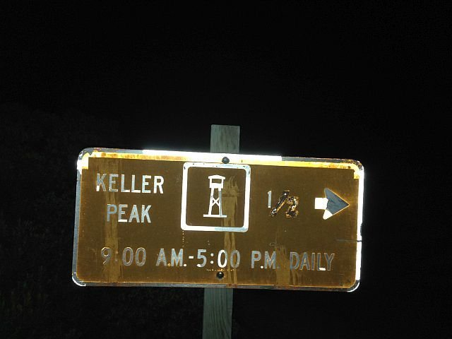 The road to the fire lookout is open 9-5 daily, Keller Peak
