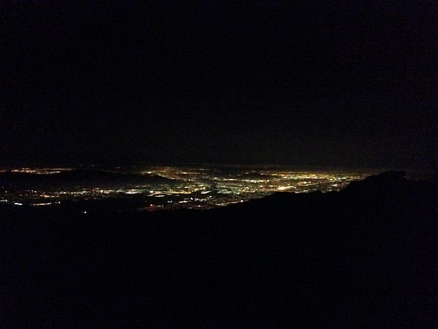 City lights from below the fire lookout, Keller Peak
