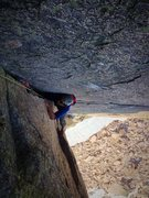 Rock Climbing Photo: Abe squeezing through the first wide section in th...