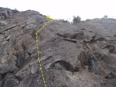 Rock Climbing Photo: Pitch one trends right form the small pine on rout...