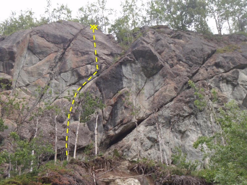 Look for the first bolt of Vanity Fair 12' up above a badly eroded belay area.