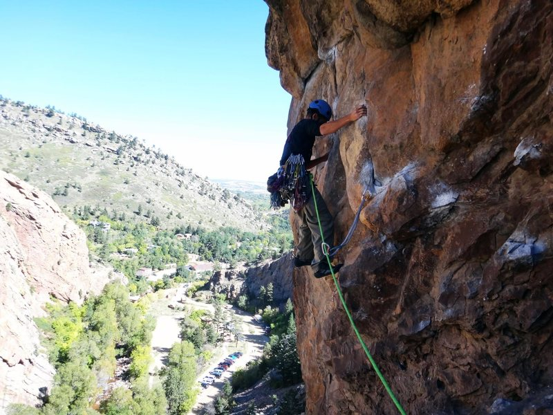 Greg K. leading the infamous, exposed traverse pitch.