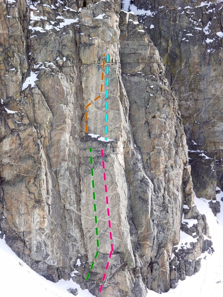 RSB, West sector, Flat wall.<br> Green= Sole Super Power 5.13c <br> Pink= Zion Stormtropper 5.13a <br> Orange= Old School 2000 5.11d <br> Blue/green= Generation Why 5.12d