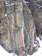 Rock Climbing Photo: RSB, West sector, Flat wall. Green= Sole Super Pow...