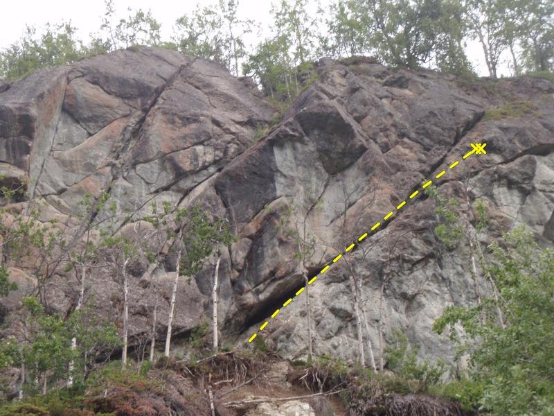 Rock Climbing Photo: Follow the 45 degree right trending crack to an an...