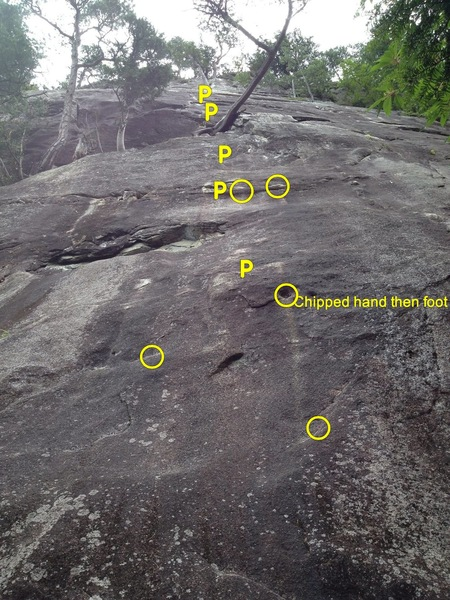 Rock Climbing Photo: Wide shot of the route. Granite is polished in man...