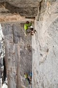 Rock Climbing Photo: On pitch 3 undercling traverse during the FFA.  Ph...