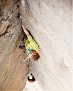 Rock Climbing Photo: Brad Wilson on pitch 4 during the FFA.  Photo by J...