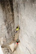 Rock Climbing Photo: Brad Wilson on pitch 5 during the FFA.  Photo by J...