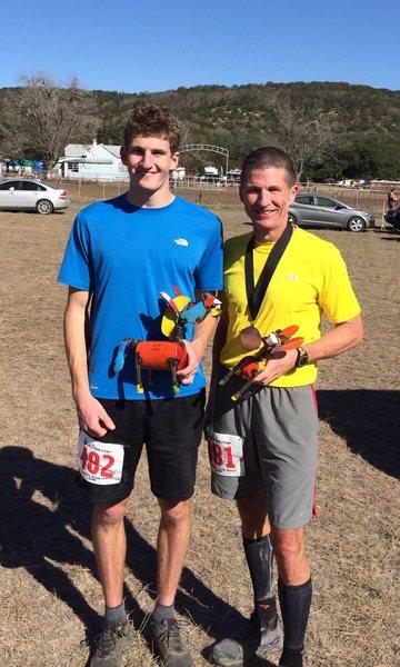 Dad and me finishing Bandera 50k