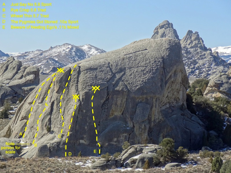 Rock Climbing Photo: Elephant Rock with approximate lines and anchor lo...
