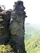 Rock Climbing Photo: Wes at the last bolt -- placed after the FA to str...
