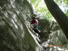 Rock Climbing Photo: Plugging in gear about 2/3 of the way up.