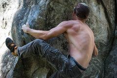 Rock Climbing Photo: Heel hook down low