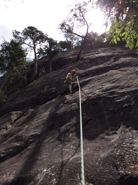 In the gulley rest spot after the crux and clipping the second bolt. Time for crux number 2.