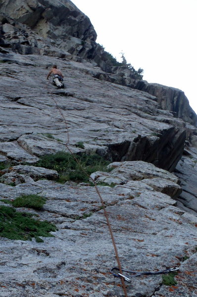 Rock Climbing Photo: Looking up at David A leading Pitch 2. It's steepe...