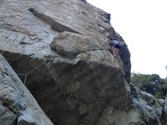Rock Climbing Photo: Route follows the obvious jugs that heads right
