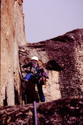 Rock Climbing Photo: Drew S. basking in the evening sun about 400' from...
