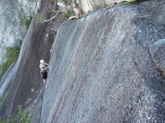 Rock Climbing Photo: On the crux pitch, July 2014