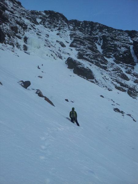 Rock Climbing Photo: Jamie crossing Huntington's towards Damnation Gull...