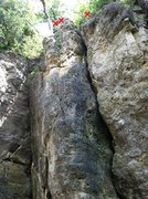 Rock Climbing Photo: Top section of Nosey.  Bottom of the picture is ab...