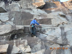 Rock Climbing Photo: Climbing the route after bolt installation.