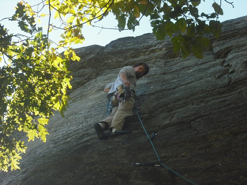 Rock Climbing Photo: Standing at the last bolt.