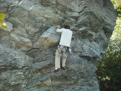 Rock Climbing Photo: Pulling the overhang before the first bolt.