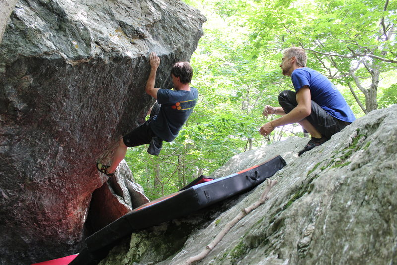 Rock Climbing Photo: The legendary Bill Patton moving off the crux left...