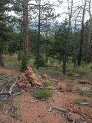 Rock Climbing Photo: Cairn pile past the white plywood sign, perhaps 10...
