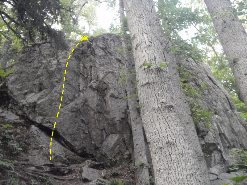 Follow the bolt line on the left side of the crag.
