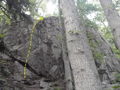 Rock Climbing Photo: Follow the bolt line on the left side of the crag.