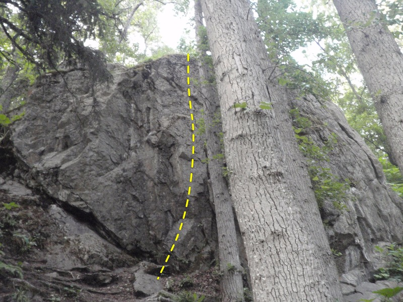 Rock Climbing Photo: Simian's Reach starts just left of the large tree ...