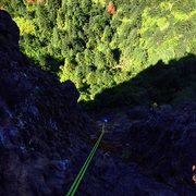"Rock Climbing Photo: Looking down the rap from the top of ""The Dra..."