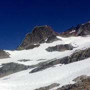 The Aiguille de l'M, Boston Basin, North Cascades National Park. The South Ridge is the left skyline - the right skyline is the North Ridge.