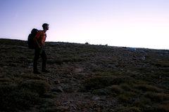 Rock Climbing Photo: Tim on DP at dawn